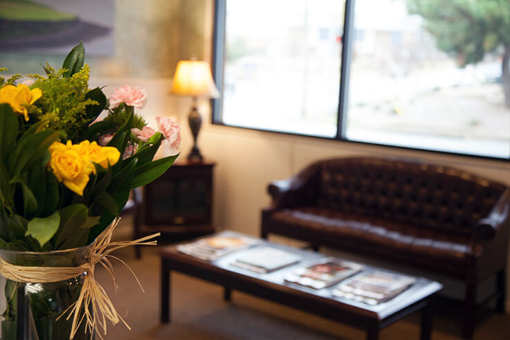 Thumbnail of yellow flowers decorating waiting area