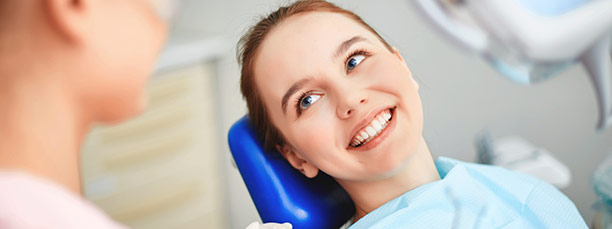 Patient relaxing in dental chair