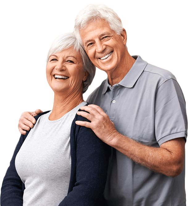 Older couple with healthy beautiful smiles