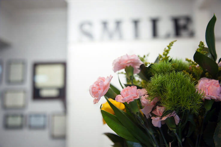 Lovely bouquet of flowers decorating dental office